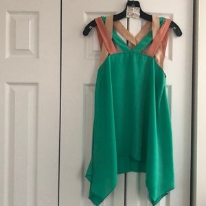 Tops - Green multi length shirt with colorful straps